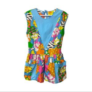Vntg 60s Flower Power Colourful Apron Top Tie Back